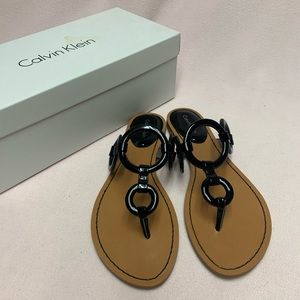 Calvin Klein Patent Leather Circle Sandal